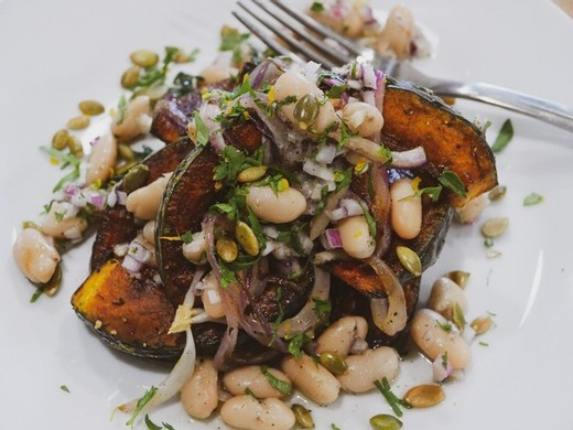 Roasted Kabocha Squash Salad with Cannellini Beans